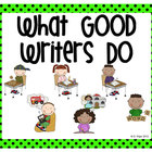 Stick Figure What Good Writers Do Posters: Bright Green wi