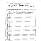 What did you learn last year?