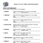 What is in the Newspaper? - Functional Reading Activity