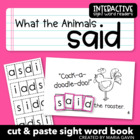 "Interactive Sight Word Reader ""What the Animals Said"""