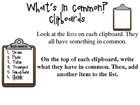 What's In Common Clipboards - A Literacy Center Activity f