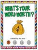 What's Your Word Worth? Freebie