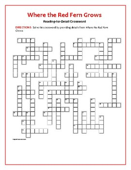 Where the Red Fern Grows: Reading-for-Detail Crossword: No