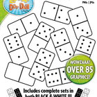 White Dominoes Clip Art  Full Set / Over 40 Graphics!