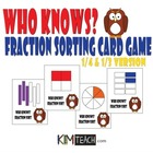 Who Knows Fraction Sorting Card Game - 1/3 and 1/4 Fractio