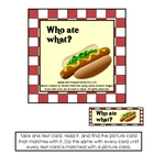 """Who ate what?"" Beginning reading comprehension."