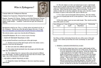 Who is Pythagoras! COMPLETE LESSON PLAN to DISCOVER the Theorem