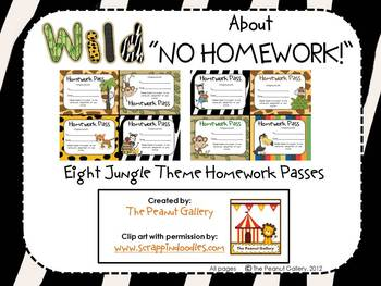 "Wild About ""No Homework!"" (Homework Passes/Coupons)"