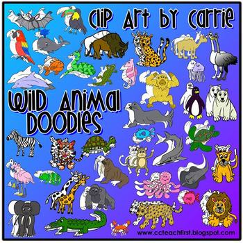 Wild Animals Doodles Clip Art Combo (BW & Color PNG files)