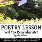 Will You Remember Me? End of Year Poetry and Memories Game