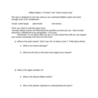 "William Blake - ""A Poison Tree"" Short Answer Worksheet/Quiz"