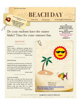 Winter Beach Day - Beat the winter Blahs: A book report co