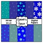 Winter Blues! Snowflake Digital Background Papers Commerci
