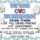 Winter CVC Worksheet for Centers, Morning Work, Homework,