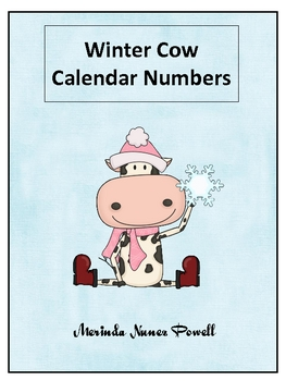 Winter Cow Calendar Number Set