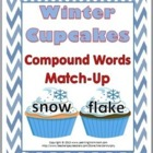 Winter Cupcakes Compound Words Matching Activity