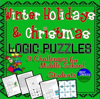 Winter Holiday & Christmas Fun- Five Logic Puzzles for Middle School