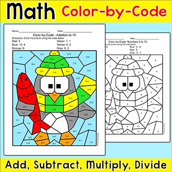 Winter Math Color-by-Code Activity - Penguin