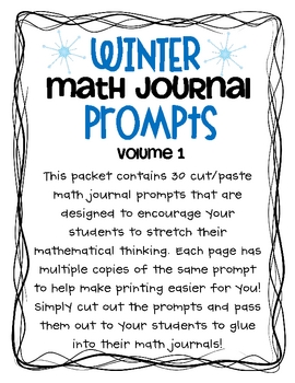 Winter Math Journal Prompts- Vol.1