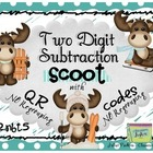 Winter Moose Two Digit Subtraction with QR CODES - 2.NBT.5