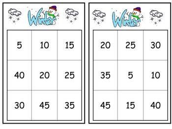 Winter Multiplication Bingo- 5s FREE