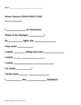 Winter Olympics Gouin Series for English Learners