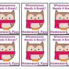 Winter Owls Homework Pass Freebie!