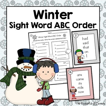 Winter Sight Word ABC Order