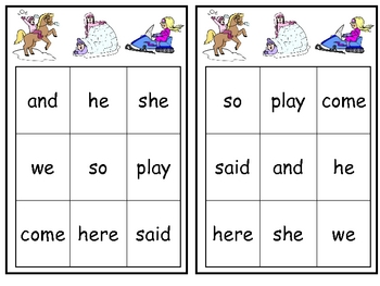Winter Sight Word Bingo Games- Set of 3 for Kindergarten
