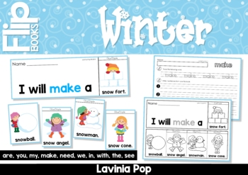 Winter Sight Word Flip Books (color and black and white)