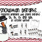 Winter Snoman  Digraphs Literacy Center Game including ch,