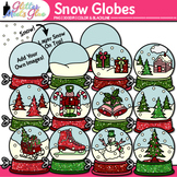Winter Snow Globes Clipart - December Christmas Fun! Snowm