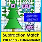 Winter Math Centers:  Snowflakes Subtraction Center Match