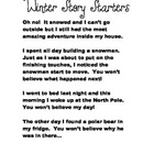 Winter Story Starters