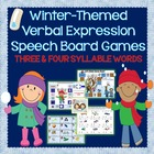 Winter Themed 3 & 4 Syllable Verbal Expression or Word Rea