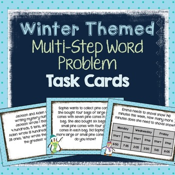 Winter Themed Multi-Step Word Problem Task Cards