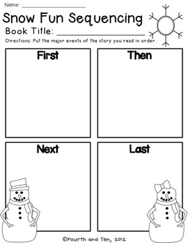 Winter Themed Reading Graphic Organizers