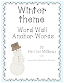 Winter Word Wall Anchor Word Cards