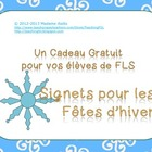 Winter holiday Bookmark gifts for French Students