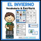 Vocabulary cards in Spanish: Winter Tarjetas  de vocabular