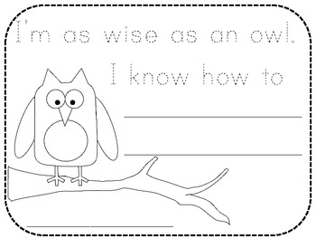 Wise as an owl writing page