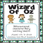 Wizard of Oz Differentiated Character Diary for 1st Grade
