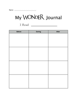 Wonder (Questioning) Graphic Organizer Pack: Comprehension