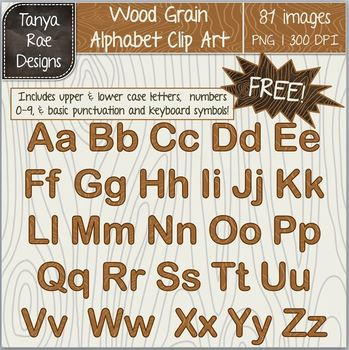 Woodgrain Alphabet Digital Clip Art FREEBIE!