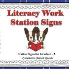 Woodland Animal Literacy Work Station Signs