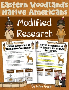 Woodlands Native Americans Worksheet Modified for Lower Le