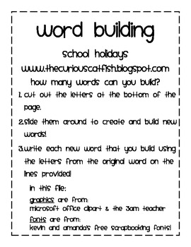 Word Building Activities