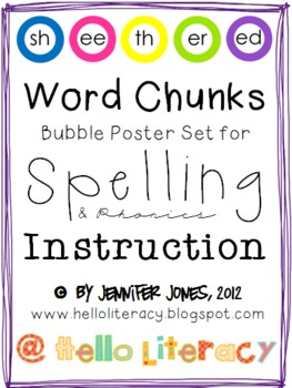 Word Chunks Poster Set for Spelling & Phonics Instruction