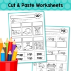 Word Families - Cut &amp; Paste Worksheets (Short Vowel)