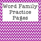 Word Families Homework and Practice Pages Freebie
